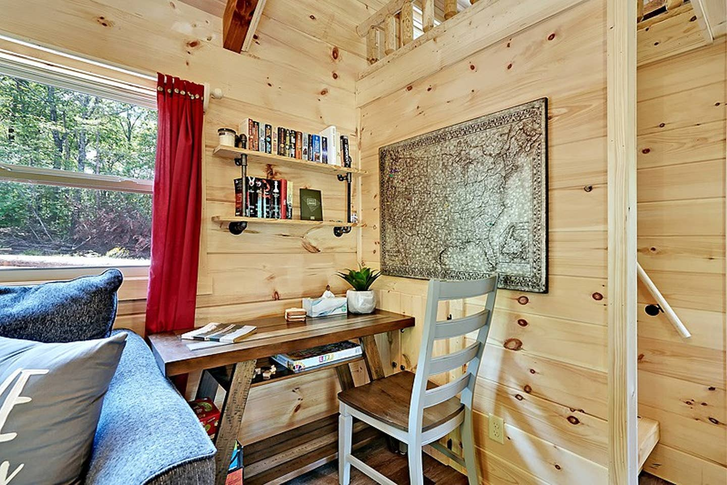 Cabin desk with shelves